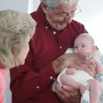 relaxing with Great Grandpa and Great Grandma Casey